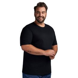 Mens Plus Size Cotton Short Sleeve T Shirts Solid Black Size 4xl