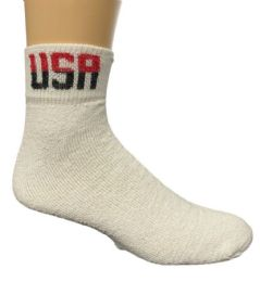 Yacht & Smith Men's King Size Cotton Usa Sport Ankle Socks Size 13-16 Solid White Usa Print