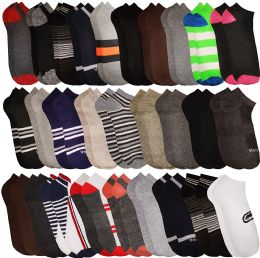 Mens Colorful Assorted Lightweight Low Cut Ankle Socks, Size 10-13