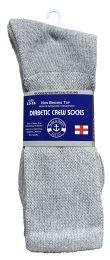 Yacht & Smith Men's King Size Loose Fit NoN-Binding Cotton Diabetic Crew Socks Gray Size 13-16