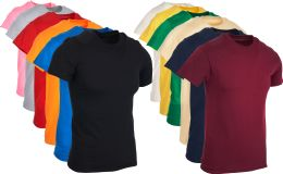 36 Pack Mens Cotton Short Sleeve Lightweight T-Shirts, Bulk Crew Tees for Guys, Mixed Bright Colors Bulk Pack (Small)