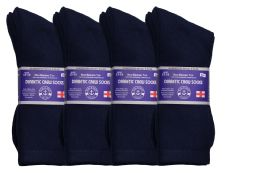 Yacht & Smith Men's King Size Loose Fit Diabetic Crew Socks, Navy, Size 13-16
