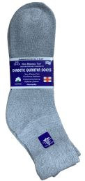 Yacht & Smith Men's King Size Loose Fit NoN-Binding Cotton Diabetic Ankle Socks,gray Size 13-16