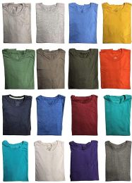 Mens Cotton Short Sleeve T-Shirts, Bulk Crew Tees for Guys, Mixed Bright Colors Size Large