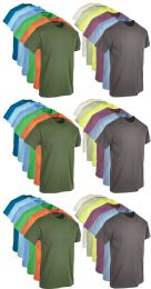Mens Cotton Short Sleeve T-Shirts, Bulk Crew Tees for Guys, Mixed Bright Colors Size Small