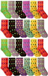 Yacht & Smith Neon Star Print Cotton Crew Socks For Woman, Size 9-11
