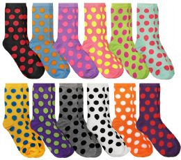 Yacht & Smith Neon Polka Dot Print Cotton Crew Socks For Woman, Size 9-11