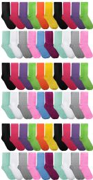 Yacht & Smith Assorted Neon Cotton Crew Socks For Woman, Size 9-11