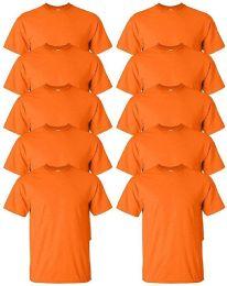 Mens Cotton Crew Neck Short Sleeve T-Shirts Bulk Pack Solid Orange, XX-Large