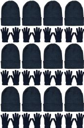 Yacht & Smith Womens Warm Winter Hats And Glove Set Solid Black