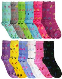 Yacht & Smith Women's Music Note Print Crew Socks Size 9-11