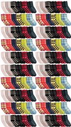 Yacht & Smith Womens Soft Fuzzy Gripper Crew Socks, Assorted Striped Size 9-11