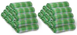 Yacht & Smith 50x60 Fleece Blanket, Soft Warm Compact Travel Blanket, GREEN PLAID