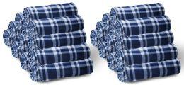 Yacht & Smith 50x60 Fleece Blanket, Soft Warm Compact Travel Blanket, Navy Plaid