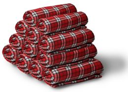 Yacht & Smith 50x60 Fleece Blanket, Soft Warm Compact Travel Blanket, RED PLAID