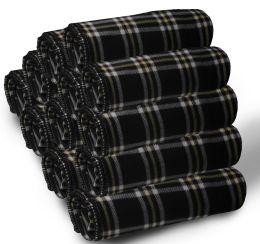 Bulk Soft Fleece Blankets 50 X 60, Cozy Warm Throw Blanket Sofa Travel Outdoor, Wholesale (50 X 60, 24 Pack Black Plaid)