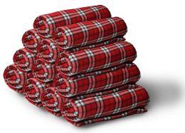 Bulk Soft Fleece Blankets 50 X 60, Cozy Warm Throw Blanket Sofa Travel Outdoor, Wholesale (50 X 60, 12 Red Plaid)