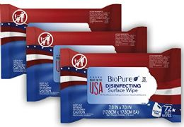 BioPure Made in The USA Sanitizing Disinfectant Cleaning Wipes EPA Approved 72 ct