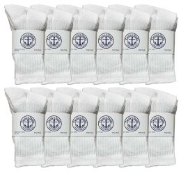 Yacht & Smith Kids Cotton Terry Cushioned Crew Socks White Size 6-8 Bulk Pack