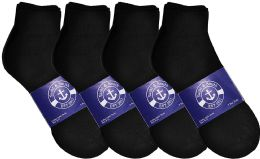 Yacht & Smith Womens Lightweight Cotton Sport Black Quarter Ankle Socks, Sock Size 9-11