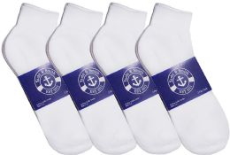 Yacht & Smith Mens Lightweight Cotton Sport White Ankle Socks, Sock Size 10-13