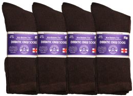 Yacht & Smith Women's Cotton Diabetic Non-Binding Crew Socks - Size 9-11 Brown