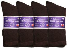 Yacht & Smith Women's Cotton Diabetic NoN-Binding Crew Socks - Size 9-11 Brown
