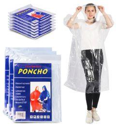 Yacht & Smith Adult Unisex Reusable Rain Poncho With Hood (clear)