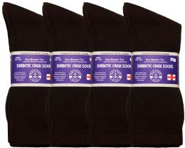 Yacht & Smith Men's King Size Loose Fit Diabetic Crew Socks, Brown, Size 13-16