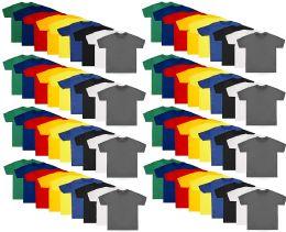 Kids Unisex Cotton Crew Neck T-Shirts, Assorted Sizes And Colors, Bulk Wholesale