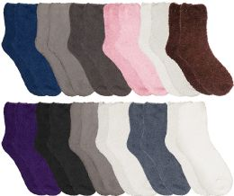 Yacht & Smith Women Fuzzy Socks Crew Socks, Warm Butter Soft, Neutral Colors (Size 9-11)