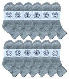 Yacht & Smith Mens Cotton Gray Sport Ankle Socks, Sock Size 10-13