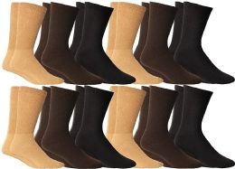 Yacht & Smith Women's Cotton Diabetic NoN-Binding Crew Socks - Size 9-11 Assorted Brown, Khaki, Navy