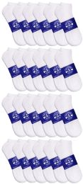 Yacht & Smith Mens White Lightweight Cotton No Show Ankle Socks, Sock Size 10-13