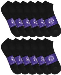 Yacht & Smith Mens Black Lightweight Cotton No Show Ankle Socks, Sock Size 10-13