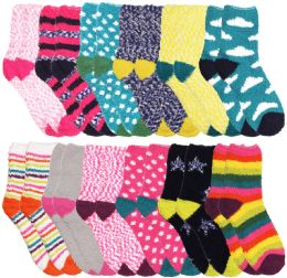 Yacht & Smith Women's Assorted Printed Fuzzy Socks Assorted Colors, Size 9-11