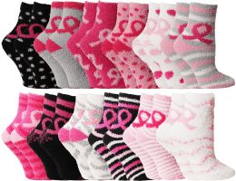 Yacht & Smith Women's Breast Cancer Awareness Fuzzy Socks, Asst Prints Size 9-11