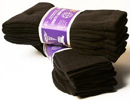 Yacht & Smith Men's Cotton Diabetic Non-Binding Crew Socks - Size 10-13 Brown