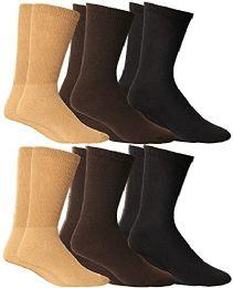 Yacht & Smith Women's Cotton Diabetic Non-Binding Crew Socks - Size 9-11 Assorted Brown, Khaki, Black