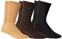 Yacht & Smith Men's Cotton Diabetic Non-Binding Crew Socks - Size 10-13 Assorted Brown