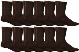 Yacht & Smith Mens Athletic Crew Socks , Soft Cotton, Terry Cushion, Sock Size 10-13 Brown