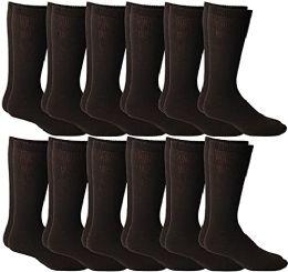 Yacht & Smith Men's Cotton Diabetic Non-Binding Crew Socks - King Size 13-16 Brown