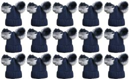 Double Pom Pom Ribbed Winter Beanie Hat, Multi Color Pom Pom Solid Navy
