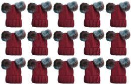 Double Pom Pom Ribbed Winter Beanie Hat, Multi Color Pom Pom Solid Red