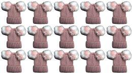 Double Pom Pom Ribbed Winter Beanie Hat, Multi Color Pom Pom Solid Pink