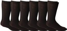 Yacht & Smith Men's King Size Loose Fit Non-Binding Cotton Diabetic Crew Socks (Brown King Size 13-16)