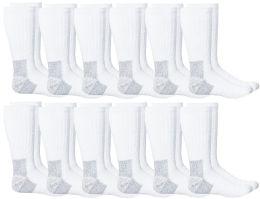 Yacht & Smith Men's Heavy Duty Steel Toe Work Socks, White, Sock Size 10-13