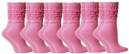 Yacht & Smith Slouch Socks For Women, Solid Pink, Sock Size 9-11