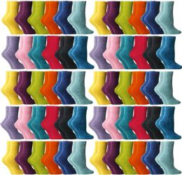 Yacht & Smith Women's Assorted Bright Solid Color Gripper Fuzzy Socks, Size 9-11