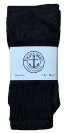 Yacht & Smith Kids Solid Tube Socks Size 6-8 Black Bulk Pack